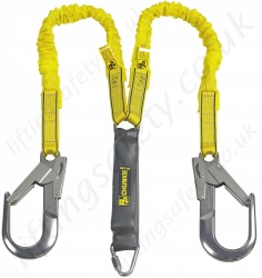 PP Chunkie 180 Elasticated two tails, Two Leg Fall Arrest Lanyard Complete With Two Scaffold Hooks, Adjustable from 1.4m to 1.8m