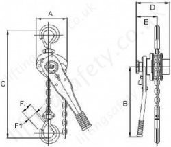 SS11 800kg to 3000kg Subsea Lever Hoist Dimensions
