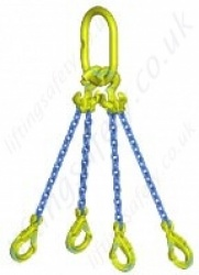 "Gunnebo GrabiQ ""TG4-GBK"" Four Leg Chain Sling with ""Master Link MF and GBK Sling Safety Hook"" Range from 2.2t to 33.6t"