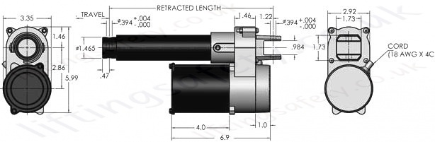 LS 35 AC Linear Actuator Dimensions
