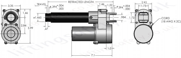 LS 35 DC Linear Actuator Dimensions