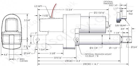 U0026quot Spa 1500lb Series U0026quot  Linear Actuator