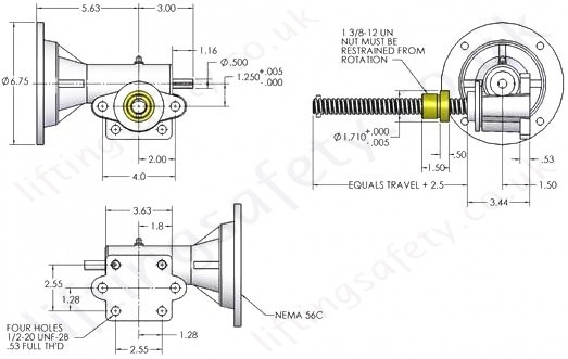Modular Actuator With Rotating Machine Screw Dimensional Specifications