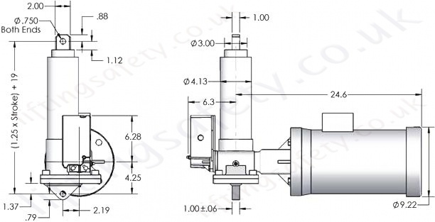 SCW10 Series Right Angle Motor Diagram