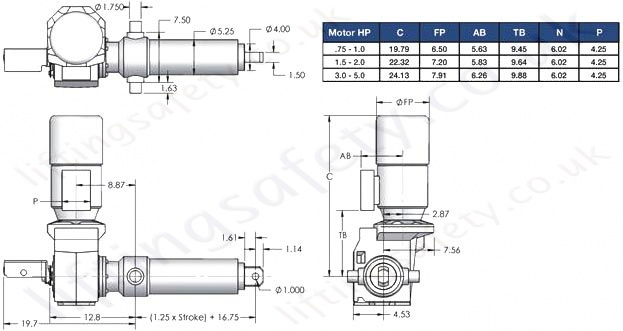 SCN12 Series Right Angle Motor Diagram