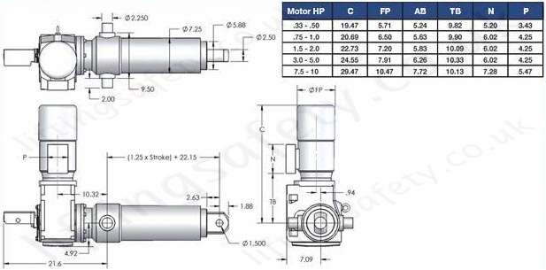 SCN25 Series Right Angle Motor Diagram