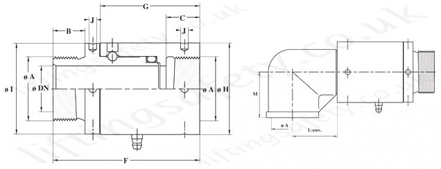 1100 Series Slow Rotation Swivel Rotary Union Diagram