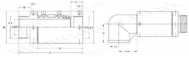 1102 Series Slow Rotation Swivel Rotary Union Diagram