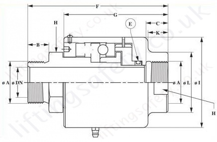 1900 Series High Pressure Swivel Rotary Union Diagram