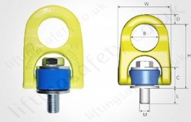 Gunnebo ERLP Rotating Lifting Point Dimensions