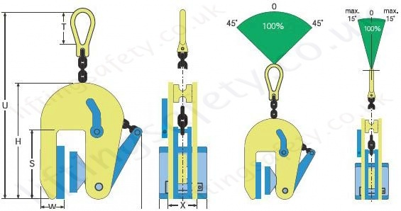 Vertical Clamp Non Marking CVNM Dimensions