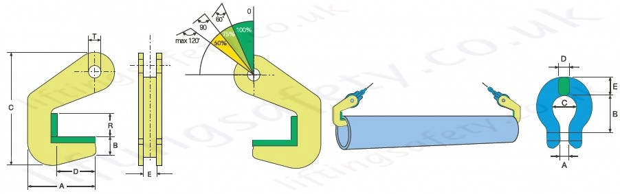 Horizontal Clamp Pipe Hook CHPH Dimensions