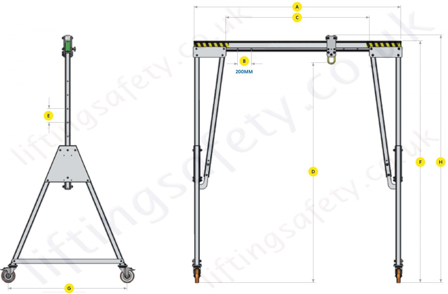 Light Weight Portable Aluminium Lifting Gantry Dimensions