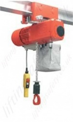 Hadef Premium AKR Electric Chain Hoist with Push Travel Trolley. Range 250 to 30,000kg