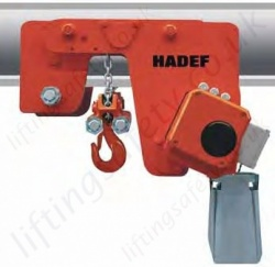 Hadef UL-EH Premium Ultra Low Headroom Electric Chain Hoist with Geared Travel Trolley. Range 1,000kg to 40,000kg