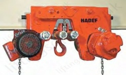 Hadef EES Ultra Low Headroom Electric Chain Hoist with Electric Travel Trolley. Range 500kg to 3,200kg