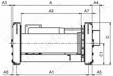 42 87 E Electric Wirerope Winch Dimensions Front