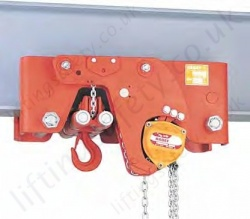 Hadef 29/98 HH Ultra Low Headroom Manual Chain Hoist with Geared Travel Trolley, Range from 1,000kg to 30,000kg