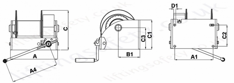 Hadef 238 10 Worm Gear Wirerope Winch Dimensions