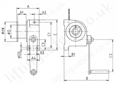 Hadef 430 91 Worm Gear Wirerope Winch Dimensions
