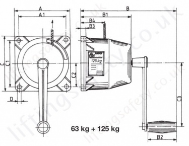Hadef 199 75 Aluminium Wirerope Winch 125kg Dimensions
