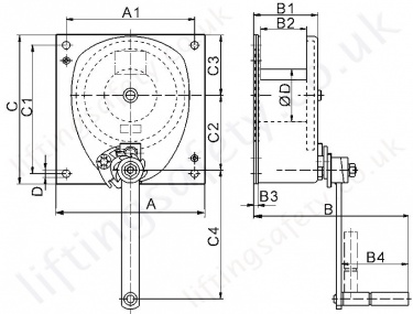 Hadef 260 76 Spur Gear Manual Wirerope Winch Dimensions