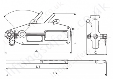 Hadef 147 05 Wirerope Pull Hoist Dimensions