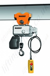 Hadef Professional 62/05R Electric Chain Hoist with Push Travel Trolley, Range 125kg to 2,000kg