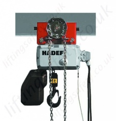 Hadef Professional 62/05H Electric Chain Hoist - with Hand Geared Trolley, Range 125kg to 2,000kg