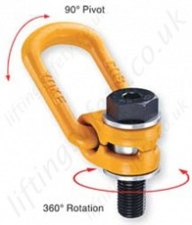 Yoke Grade 100 Bolt-on Metric Thread Swivel Lifting Points - 300kg to 20 tonnes