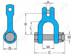 Grade 10 Clevis Shackle Dimensions