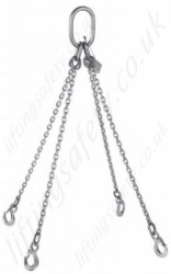 Stainless Steel Lifting Chain Sling - All Welded Construction. Chain Diameter 6mm to 18mm, WLL 700kg to 10000kg
