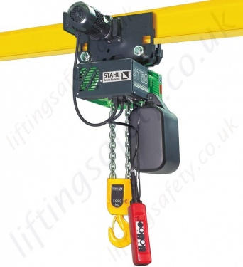 stahl st electric chain hoist capacities from 125kg up to 5 0  stahl 400v 3ph electric hoists with a wide variety of options such as extra low headroom and atex certification