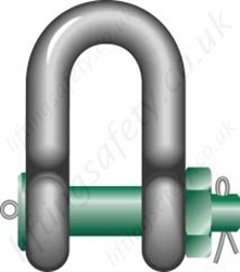 Green Pin G-6038 Heavy Duty Bolt Type Dee Shackle - Range 120 tonne to 200 tonne
