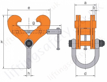 Hackett Beam Clamp Dimensions