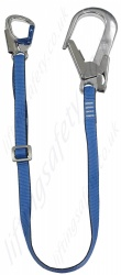 LiftingSafety Adjustable Restraint Lanyard with Snap Hook and Scaffold Hook - Webbing Length 1.5m or 2m
