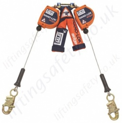 "Sala Nano-Lok ""Edge"" Twin Leg, Self Retracting Lifelines, Cable 2.4m with Optional Fittings"