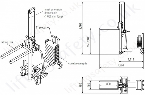 Aluminium Counter Weight Floor Crane With Lifting Forks Dimensions