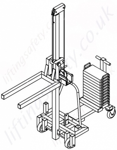 Aluminium Counter Weight Floor Crane With Lifting Forks