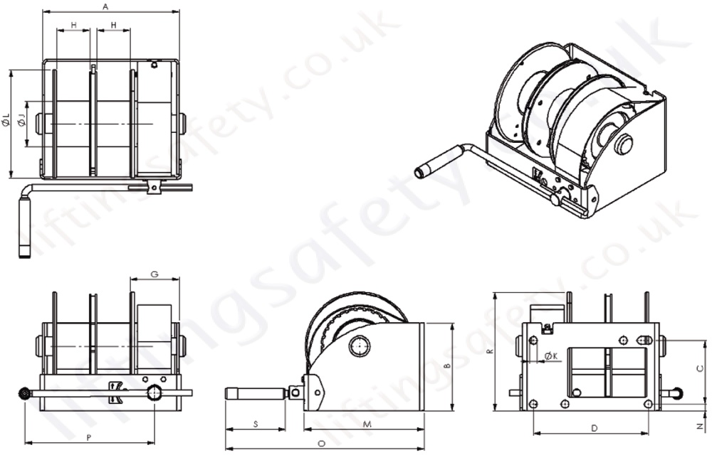 Double Drum Worm Gear Winch