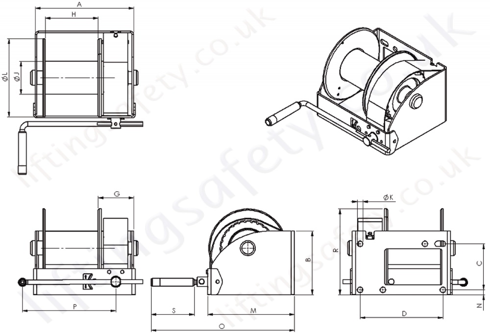 Gebuwin WW Worm Gear Winch