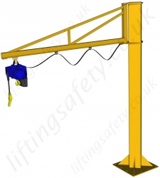 Free Standing 'C' Track Profile, Over-Braced Swing Jib Crane, Range: 80kg to 1000kg