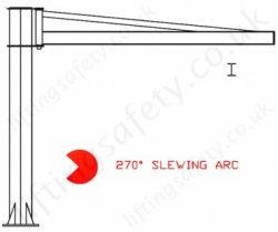 Free Standing 'I' Beam Profile, Over-Braced Swing Jib Crane, Range: 80kg to 1000kg