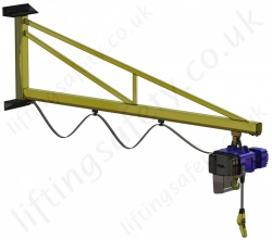 Wall Mount 'C' Profile, Over-Braced Swing Jib Crane, Range: 80kg to 1000kg