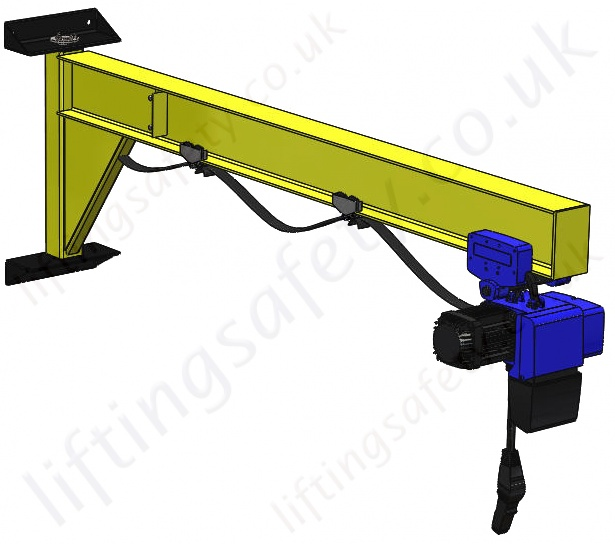 Swing Arm Hoist Mount : Wall mount i beam profile under braced swing jib crane