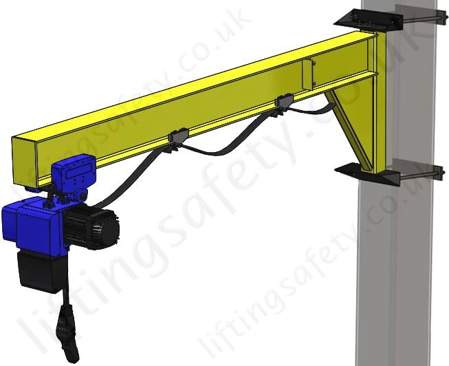 Swing Arm Hoist Mount : Clamp mount i beam profile under braced swing jib crane