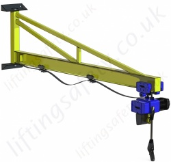 Wall Mount 'I' Beam Profile, Over-Braced Swing Jib Crane, Range: 80kg to 1000kg