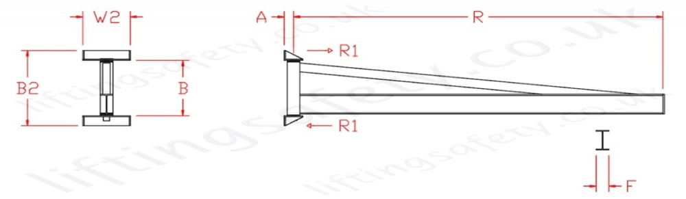 Wall Mount 'i' Beam Profile  Over Braced Swing Jib Crane