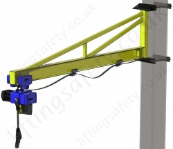 Clamp Mount 'I' Beam Profile, Over-Braced Swing Jib Crane, Range: 80kg to 1000kg