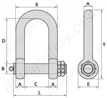 Heavy Duty Double Nut Shackle Dimensions